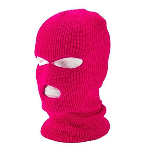 MedusaABCZeus Máscara esquí máscara Moto Negro,Cortavientos Gangster, Capucha Ladrón de Tres Agujeros-Rosa Roja,para Gorra de Ciclismo de Caza de Motocicleta