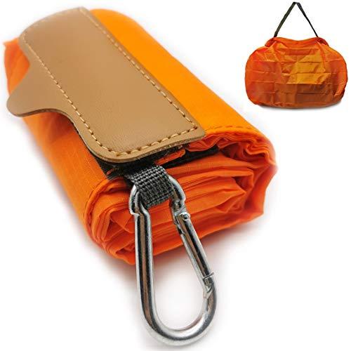 旅行用折りたたみバッグ 旅行トートバッグ 便利トラベルグッズ 旅行用品 旅行小物 防水 容量10L 超軽量 折り畳み (オレンジ, L)