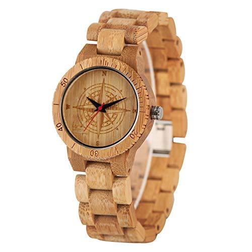 ZJQQS Houten horloge Casual Houten Horloge Mannen Quartz Carving Kompas Ronde Wijzerplaat Dameshorloges Houten Bangle Polsband Echte Bamboe Unisex Klok Gift