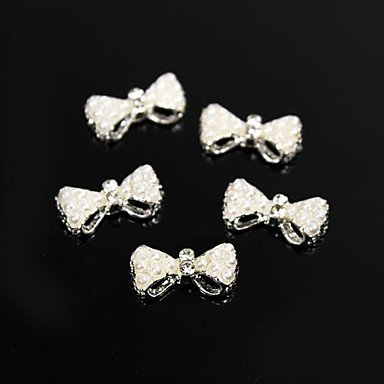 MZP 10pcs blanc perles de style de perles Bow Tie 3d alliage art de la décoration des ongles