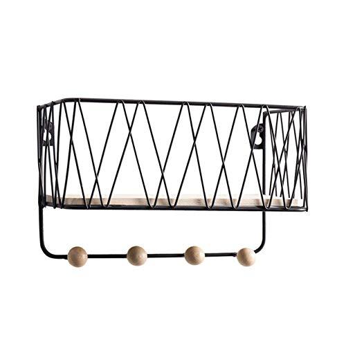 HJW Praktische opbergrek zwart metaal opknoping drijvende plank met haken, home display opslag voor keuken slaapkamer woonkamer hal badkamer 1Huiyang-01020, groot
