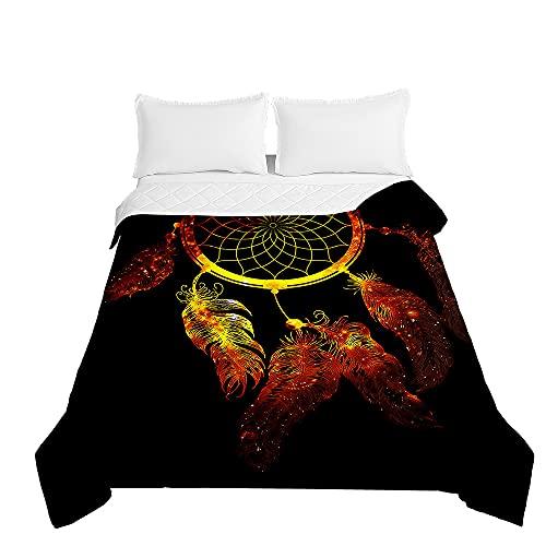 Surwin Tagesdecke Bettüberwurf Steppdecke für Doppelbett Einzelbett, Mikrofaser Wattiert Gesteppt Bettdecke 3D Traumfänger Dünne Tagesdecken mit Ultraschall Prägung (Goldene Feder,180x220cm)