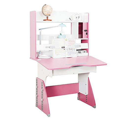 HUIO Kids Tale & Chair Set Childen Kinder Study Table School Student Schreibtisch Buchständer Höhenverstellbarer DeskMulti-Funktions Schreibtisch Kindermöbel (Color : Pink, Size : One Size)