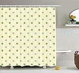 n Cortina de la Ducha Puntos geométricos diseño clásico Tendencia Simple Obra de Arte monocromática baño Ducha Cortina Set Verde Blanco