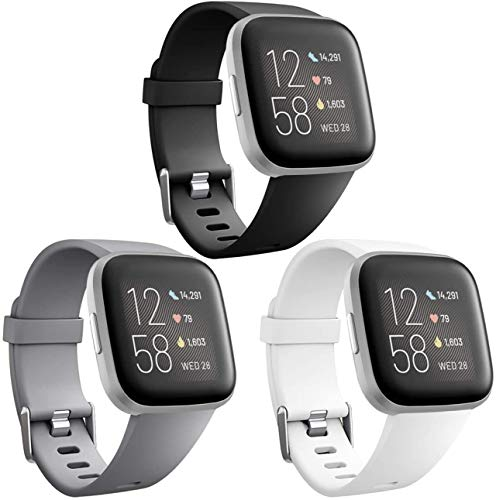 Wepro Bands Compatible with Fitbit Versa/Fitbit Versa 2/Fitbit Versa Lite SE SmartWatch for Women Men, Sports Replacement Wristband Strap for Fitbit Versa Watch, Small, 3 Pack, Black, Gray, White