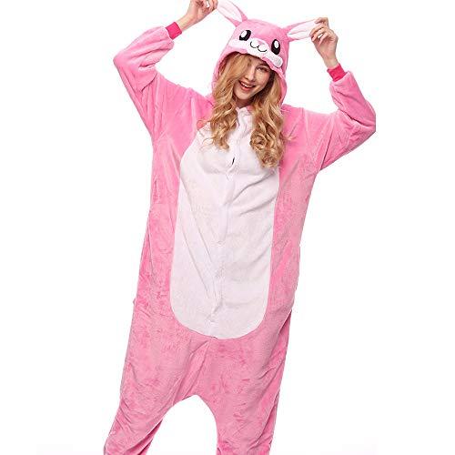 HUOFEIKE Unisex Pyjamas Erwachsene Onesies Lounge Cartoon Flanell Nachtwäsche Themed Party Nachthemd Halloween Kostüme Jumpsuits Nachthemd Kaninchen,S