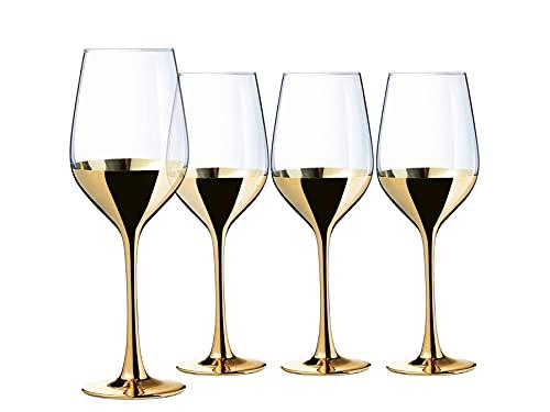 Creatable, 23461 Serie Golden Days - Copa de vino (4 piezas, cristal, 350 ml)