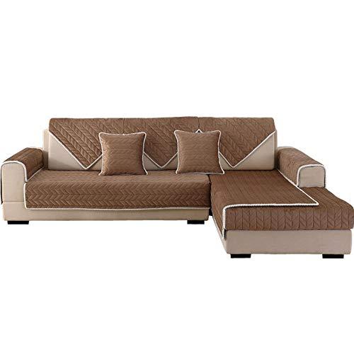 YUTJK Funda de Sofá/Funda de sofá Antideslizante/Funda de Sofá/Lavable/Antiácaros/Antiarrugas,Cojines de sofá Acolchados de Felpa,para sofá de 1/2/3/4 plazas,marrón