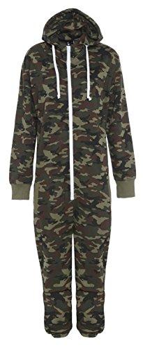 Jumpsuit mit Camouflage-Print, Reißverschluss, Kapuze und Fleece-Futter Gr. L, Army Camo Print