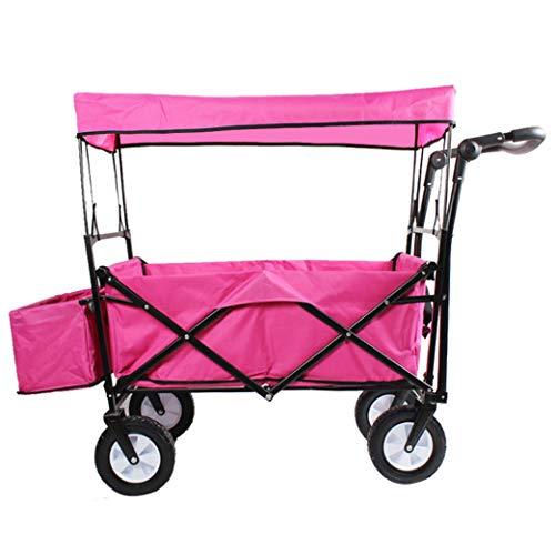 BingWS Lichtgewicht Winkelwagen Tuinwagen Opvouwbare Trek Wagon Handwagen met Afneembare Luifel Tuin Transport Winkelwagen Opvouwbare Draagbare Vouwwagen Winkelwagens