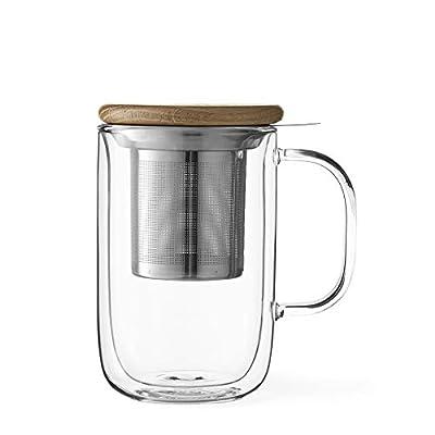 VIVA Minima Balanced Double Walled Tea Mug, Clear, 18 Ounce