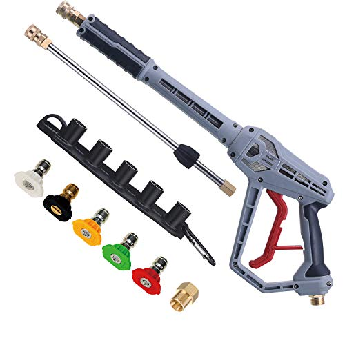 RIDGE WASHER Pressure Washer Gun with Extension Wand, Power Washer Gun with M22 Fitting, 5 Nozzle Tips with Nozzle Holder, 40 Inch, 4500 PSI