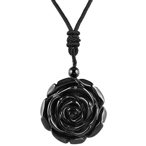 rockcloud Hand Carved Black Obsidian Rose Flower Crystal Stone Pendant Necklace for Women