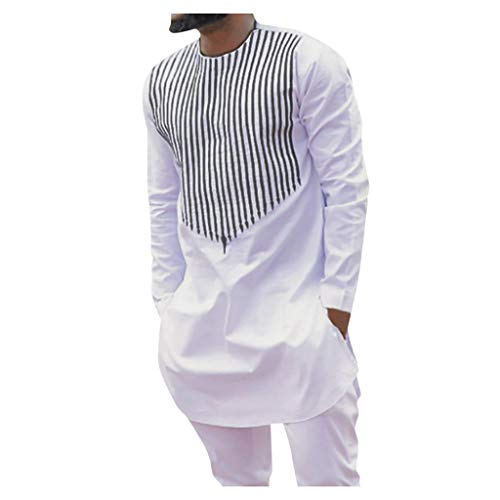 DAY8 Vestito Uomo Elegante Completo Africana Costume Carnevale Cerimonia Casual Tuta Abiti Uomo Eleganti Slim Fit Taglie Forti Invernale Lunga Blazer Pantaloni 2 Pezzi (Bianco, XL)
