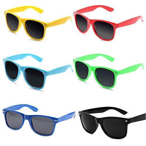 6 Pack of Wayfarer Style Glasses for Adults and Kids