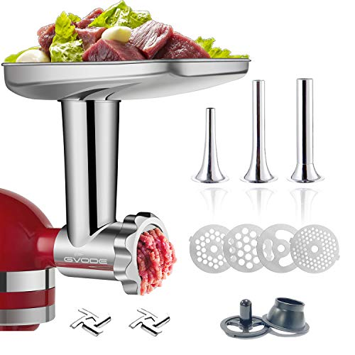 Stainless Steel Food Grinder Attachment for KitchenAid Stand MixerDurable Meat Grinder, Including 3 Sausage Stuffer Dishwasher Safe Attachment Suitable