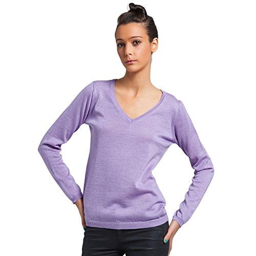 Dames trui sweater met V-hals in 100% Extrafine Merino kleur paarse