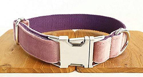 YYF Gepersonaliseerde hondenhalsband van fluweel van polyester, voor kleine en middelgrote honden, pink-XS