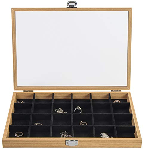 Caja para joyas de Laublust, imitación de madera, 24 compartimentos, aprox. 36 x 25 x 5 cm, color marrón natural, caja de regalo con tapa de cristal.