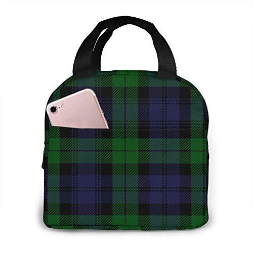 Black Watch Tartan Plaid Royal Regiment Insulated Lunch Bag Lunch Box Cooler Bag for Men Women Children