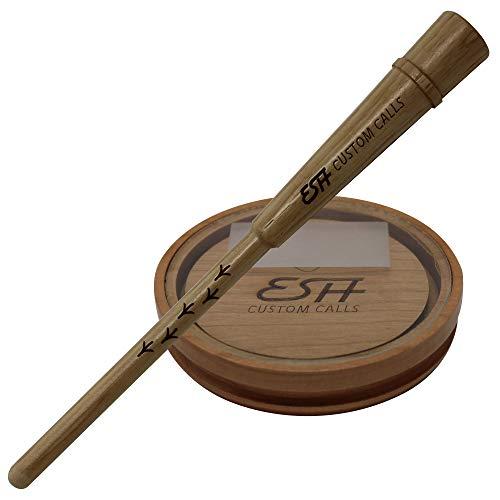 ESH Custom Calls Cherry Glass Turkey Call with Hickory Striker | Pot Pan Turkey Calls for Hunting