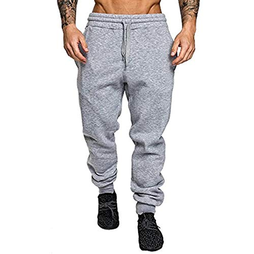 VANVENE Pantaloni da jogging da uomo in pile, pantaloni da jogging pantaloni da jogging M-3XL Grigio chiaro 2 L