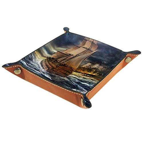 Bennigiry Valet Tablett Schiffe Meer Sturm Druck Leder Schmuck Tablett Organizer Box für Geldbörse, Uhren, Schlüssel, Münzen, Handys und Bürogeräte, Multi, 20.5x20.5cm
