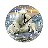 VinMea Wall Clock Polar Bear Challenging Hanging Clock Silent Non Ticking Decorative Home Clock for Living Room Bedrooms,10 Inch