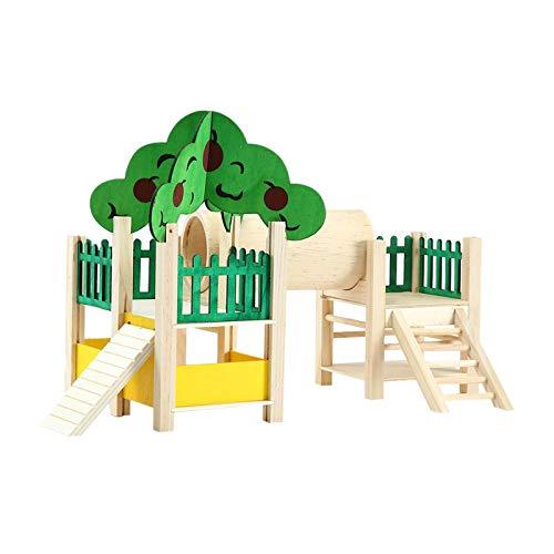 XQK Hamsterhäuser und Verstecke Natürlicher hölzerner Spielstand Mini Pet Amusement Park Kleintierspielsituation mit Durchgang, Decke, Haus, Leiter