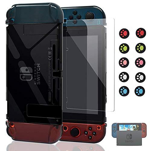Nintendo Switchカバー【ドック対応】Ponnky Joy-Conカバー 3in1 ニンテンドースイッチ ケース ドック対応 PCケース 任天堂 ハードケース コントローラー専用 セパレート 着脱簡単/耐衝撃/高透明/超薄型/キズ防止 (クリア