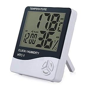 eSynic Digital Medidor Termómetro Higrómetro LCD con Reloj de Alarma Monitor de Humedad de Temperatura Interior para el Familia Oficina