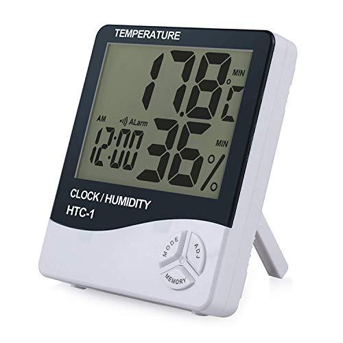 eSynic Digitales Raumthermometer, Hygrometer, Luftfeuchtigkeitsmesser, LCD-Thermometer, Wecker, mit Monitor, für Zuhause und Büro 1Stück
