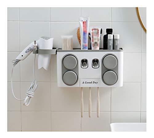 Automático multifuncional montado en la pared dispensador de pasta de dientes, crema dental exprimidor automático, exprimidor automático y el soporte de cepillo de dientes no poroso, soporte de cepill