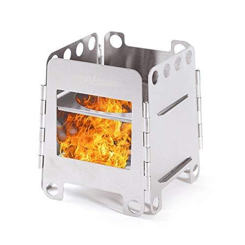 simPLEISURE ウッドストーブB コンパクト・折り畳み収納式焚火台 <薪や炭などを燃料にできる、携帯に便利な折りたたみ・組み立て式の軽量薪コンロ> サイズ:大 qa100058b01n0