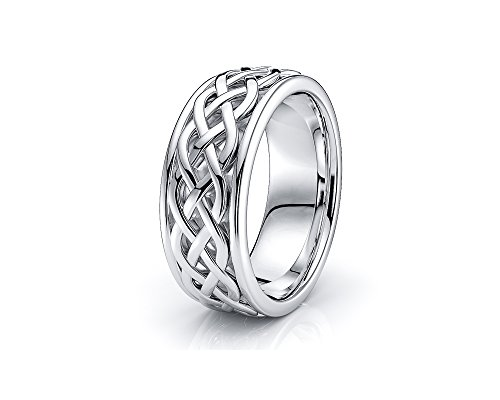 10K White Yellow Gold 7mm Celtic Knot Wedding Band Rings