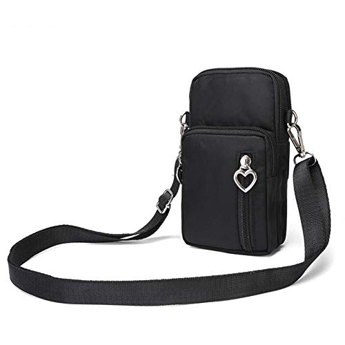 Blentude La moda de las mujeres de color salvaje teléfono móvil bolsa en forma de corazón cremallera brazo bolsillo colgante cartera bolso bandolera mini bolsa nylon impermeable