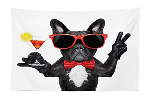 Lunarable Funny Tapestry, French Bulldog Holding Martini Cocktail Ready for The Party Nightlife Joy Print, Fabric Wall Hanging Decor for Bedroom Living Room Dorm, 45' X 30', Red Black
