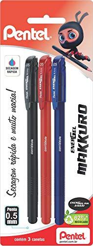 Caneta Energel Makkuro 0.5 mm, Pentel, SM/BLN415-ABC, Preta/Vermelha/Azul