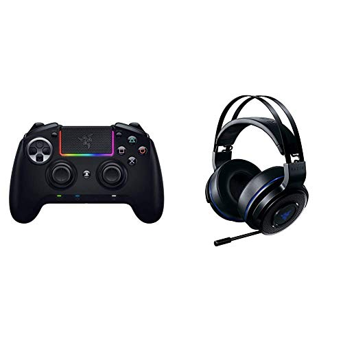 Razer Raiju Ultimate 2019 Wireless and Wired Gaming Controller fur PS4 PC Schwarz Thresher 71 fur Playstation Wireless Gaming Headset fur PS4 PS5 und PC Schwarz Blau