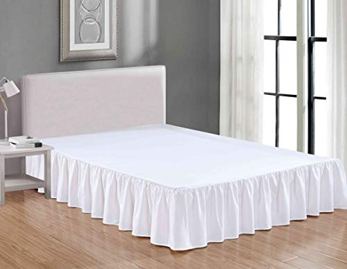 Sheets & Beyond Wrap Around Solid Microfiber Luxury Hotel Quality Fabric Bedroom Gathered Ruffled Bedding Bed Skirt 14 Inch Drop (Queen, White)