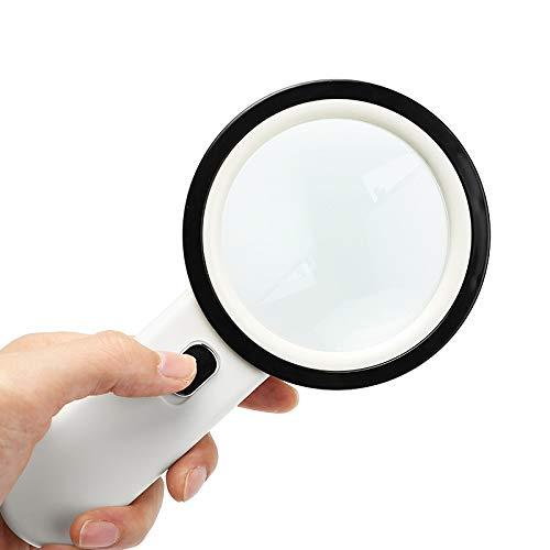 Cxm Lupe 30-fache Vergrößerung 30-Fach mit Licht 100MM optischer Handheld-HD 20-mal Schüler älteres Lesen Identifikation Pflege ältere Lupe HD-Erweiterungsspiegel Großer Spiegel HD-Lupe