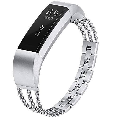 fastgo Compatible with Fitbit Alta/Fitbit Alta HR Band Women Girls Classy Fit Bit Hr Replacement Metal Bracelet Stainless Steel Jewelry Strap Elegant Adjustable Wristband Accessories(Silver)
