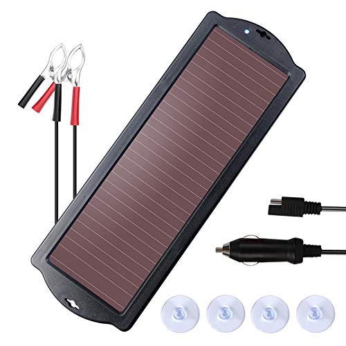 NUTAKI Solar Battery Charger 12 Volt, 2.5W Solar Panel Car Battery Trickle Charger Kit for 12V Batteries RV Motorcycle Boat Snowmobile Watercraft with Battery Clamp and Cigarette Lighter Plug