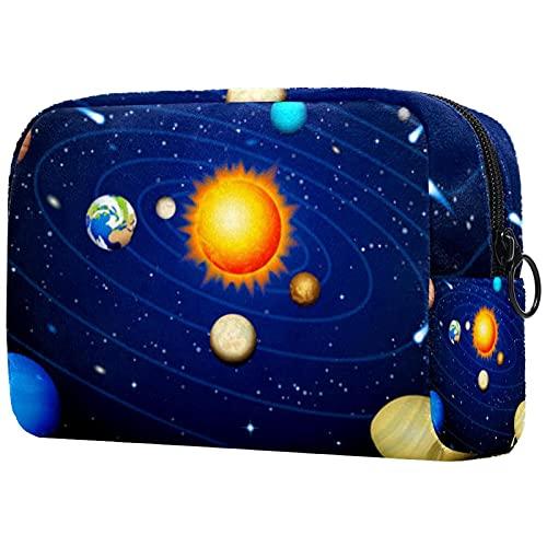 Caja de maquillaje, neceser cosmético, neceser de maquillaje, neceser de viaje, neceser para niñas, dibujos animados, planetas, estrellas y cometas,