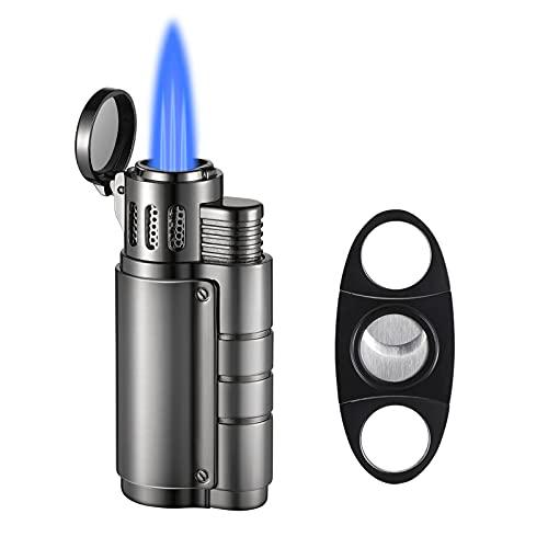 Torch Lighter, Cigar Lighter, Cigar Cutter and Lighter Set - Triple Jet Flame Butane Cigarette Torch Lighter with Cigar Punch Cutter