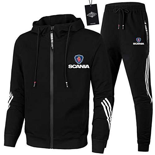Finchwac Herren Jogging Anzug Trainingsanzug Sportanzug Sc.a-nia Streifen Kapuzen Jacke + Hose Y/Schwarz/M sponyborty