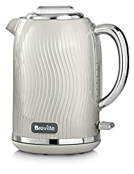Elegant, flowing textured design with a gloss finish and chrome accents; illuminates white on boil 3 KW concealed element for rapid boiling; 1.7 L capacity makes 6 to 8 cups Rear water window and extra wide spout makes accurate filling and pouring ea...