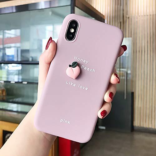 JIAHUI Funda De Teléfono con Patrón De Aguacate De Fruta 3D para iPhone XR XS MAX X 11 8 7 6 6S Plus Lovely Cubierta Trasera Bonita De Protección De Silicona Suave (Melocotón,For iPhone 7)