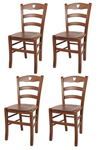 Tommychairs - Set 4 sedie Classiche Cuore per Cucina e Sala da Pranzo con Robusta Struttura e Seduta in Legno di faggio Verniciata Noce Chiaro