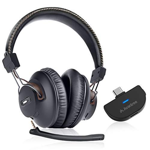 Avantree C519M 40 Horas Auriculares de Juego inalámbricos y Bluetooth 5.0 Transmisor de Audio C USB para Nintendo Switch, PC Ordenador de Escritorio, Enchufe y juegue, Chat & Música Simultáneamente